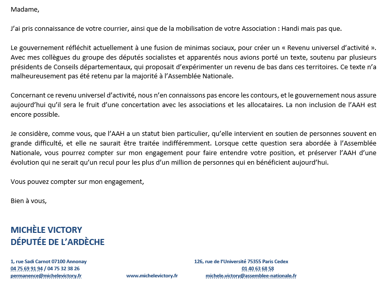 Reponse mail depute victory michele