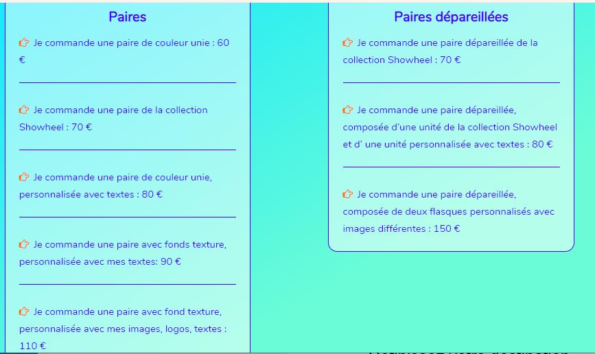 Showhell tarif 2